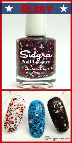 Glitter Nail Polish | Sidgra | Glory | Custom Blended - Full Size Bottle. 5-Free, Vegan, & Cruelty Free. Sidgra.com #sidgra #glitternailpolish #4thofjulypolish