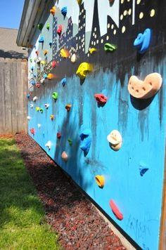 Backyard Rockwall - http://www.impatientlycrafty.com/2013/05/07/diy-backyard-climbing-wall/