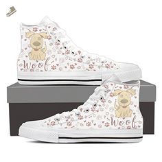 Cute Dog - Womens High Top Sneakers In White Womens High Top - White - White / US6 EU36 - Vaisb sneakers for women (*Amazon Partner-Link)