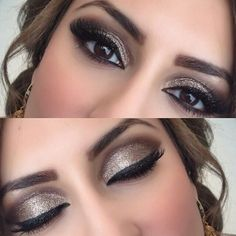 Goldish glittery brown make up look for weddings or prom or even for clubbing