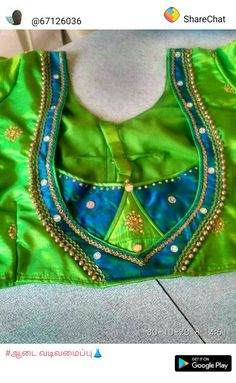 Dark Green and Goldeb Patch Work Blouse Designs, Simple Blouse Designs, Stylish Blouse Design, Salwar Neck Designs, Blouse Neck Designs, Designer Blouse Patterns, Saree Blouse, Blouse Desings, Orange Blouse