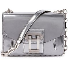 Proenza Schouler Hava Sparkling Metallic Leather Crossbody Bag (44325 TWD) ❤ liked on Polyvore featuring bags, handbags, shoulder bags, silver, flap crossbody, metallic handbags, crossbody shoulder bags, leather purses and chain crossbody