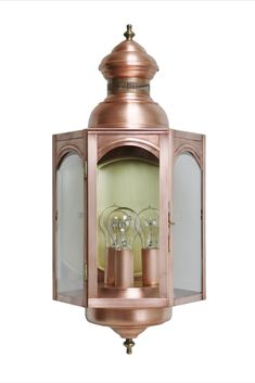 Brass Traditions Lighting 1211 Three Light Wall Lantern in Antique Copper  #brasstraditions #CTmade #handcrafted #solidcopper #exterior #wall #lantern #coastal #antiquestyle #3light #copperlighting #modern #farmhousestyle #copper #porchlight #traditional #newengland #colonialstyle #outdoorlighting #nautical #tudorstyle #hexagon #walllight #modernfarmhouse #made2order #lightingfixture #supportsmallbiz #madeinUSA #Americanmanufacturer #buyhandmade #Americanmade #supportlocalbusiness #buylocal Wall Lights, Outdoor Wall Lantern, Bulb, Lanterns, Light Fixtures, Wall, Copper Lighting, Light, Colonial Style