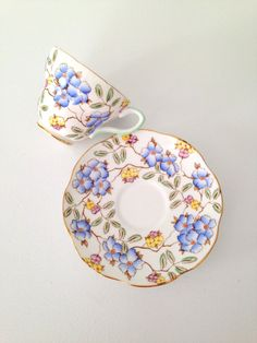Antique English Bone China Foley Springdale Pattern Tea Cup & Saucer Tea Party - c. 1898 - 1940