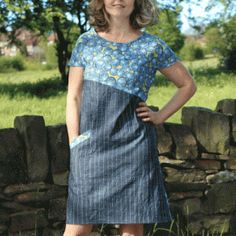 Multi Color A-line Dress - free sewing patterns - Dress Patterns