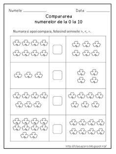 Clasa pregatitoare: Compararea numerelor 0-10 Math For Kids, Activities For Kids, Kids Math Worksheets, Preschool Writing, School Plan, Butterfly Template, Printable Baby Shower Invitations, Paper Trail, Rainbow Dash