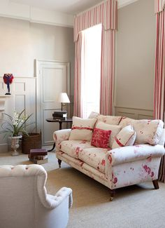 2) Farrow and Ball Light Grey:  Kate Forman says, 'I have used this inside and out. It's great on exterior woodwork, or on panelling in this beautifully proportioned Queen Ann town house. Our Red Ticking gives this room the warmth it needs and the Roses covered sofa compliments both the wall colour and the raspberry of the curtains giving an impression of smart yet cosy.' Full details on Modern Country Style blog: Kate Forman's 8 Favourite Farrow and Ball paints