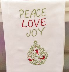 Christmas Towel White Flour Sack Towels by IdleTymeCreations