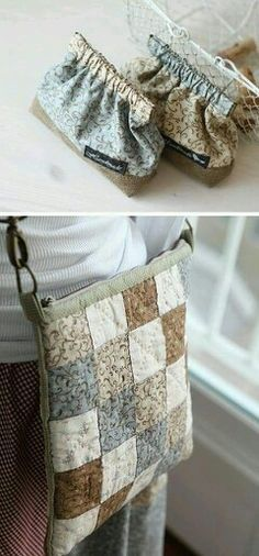 Handmade bag from fabric - Patchwork - Women's Handbags Fabric Crafts, Sewing Crafts, Sewing Projects, Sewing Ideas, Patchwork Bags, Quilted Bag, Purse Patterns, Sewing Patterns, Frame Purse