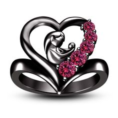 New Mother's Day Gift Mom Child Heart Ring Family Love Classic Jewelry #br925silverczjewelry #Ring