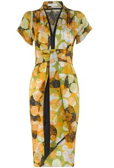 Vintage print silk tea dress with our stunning and exclusive Japanese inspired print. Printed for the Suzannah collection on beautiful silk satin in Como Italy, and made in the UK.  Contrast matt silk satin trim in soft black defines the neckline and adds a presence and oriental elegance.  Team with a soft neat blazer or chic knit. Perfect for a fall wedding or chic cocktail event.