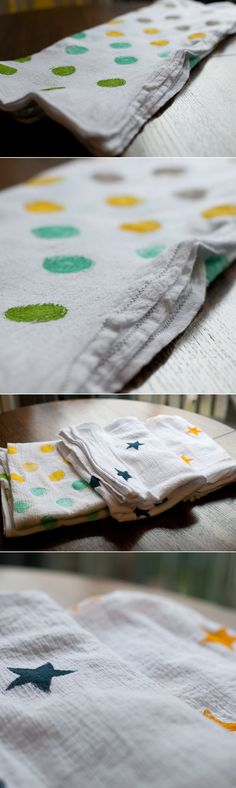 DIY: Hand-stamped Swaddle Blankets