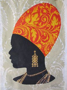 Vintage The Bagshaws St Lucia Screen Printed Silhouette of A Lady MCM Wall Hanging Tapestry Caribbean Rummage Sale, Found Art, African Design, Interesting Faces, Humble Abode, Beautiful Wall, Tapestry Wall Hanging, Grandchildren, Art For Sale