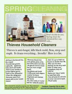 Spring cleaning with Thieves Household Cleaners Young Living Thieves, Young Living Oils, Young Living Essential Oils, Thieves Household Cleaner, Thieves Cleaner, Household Cleaners, Household Tips, Thieves Essential Oil, Essential Oil Uses
