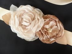 Champagne Bridal Sash Floral Wedding Sash Bridal Accessory