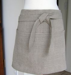 Half Apron- Linen Natural Color- Utility-For Baker, Crafter