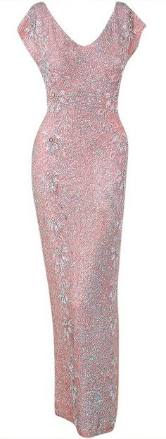 1950's Gene Shelly Pale-Pink Sequin Beaded Hourglass Gown