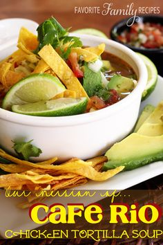 This soup is my absolute FAVORITE! It tastes exactly like Cafe Rio's! from favfamilyrecipes.com #tortillasoup #caferiocopycat Healthy Dinner Recipes, Mexican Food Recipes, Ethnic Recipes, Healthy Food, Mexican Meals, Mexican Dishes, Skinny Recipes, Yummy Recipes, Chicken Tortilla Soup