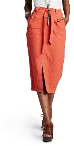 Free People 'Easy Breezy' Linen & Cotton Midi Skirt