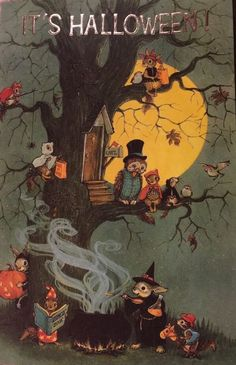 Owls on Halloween. It won't be long now. Eulen an Halloween. Retro Halloween, Halloween Tags, Halloween Kunst, Vintage Halloween Images, Vintage Holiday, Holidays Halloween, Halloween Crafts, Halloween Decorations, Halloween Costumes