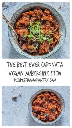 Drop everything and make this really easy Caponata (vegan aubergine stew). This is a hearty filling recipe packed full of autumn vegetables. recipesfromapantry.com #caponata #auberginestew #eggplantstew