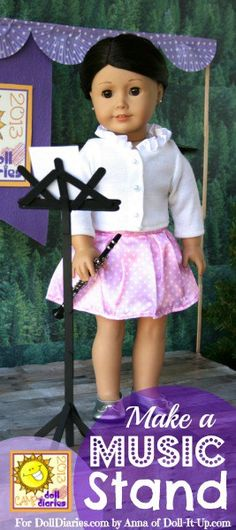 Anna here!  Do you play a musical instrument?  Do you sing?  This doll sized music stand can hold your dolls music for any performance!  Before we get to all the details and the how-to's, I h…