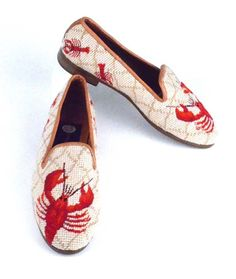 Red Lobster Needlepoint Loafer:  This pattern is a hot seller! The lobster is hand stitched in petit point, and as you can see there are 2 smaller lobsters on each heel.  Our needlepoint shoes are fully lined with soft kid leather, have a half inch heel and composition sole.  Available for immediate delivery in whole and half sizes from 6.5 to 11, medium width only.  Our loafers run a bit snug.  I generally wear an 8.5 to 9 and the 9 is a perfect fit.  They will give as they are worn and…