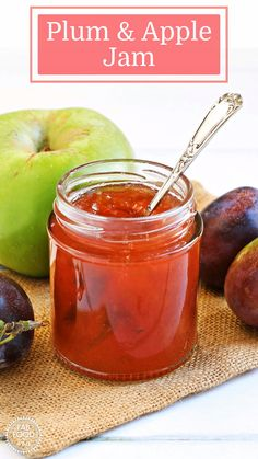 Plum & Apple Jam - the perfect autumn jam. This jam has a beautiful rose colour and delicate flavour, great for breakfast or teatime. Plum Jam Recipes Easy, Jelly Recipes, Plum Apple Recipes, Fruit Recipes, Recipies, Frosting Recipes, Sauce Recipes, Bramley Apple Recipes, Apple Jam