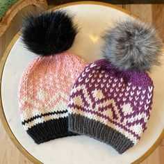 Starbright beanie by FlynnKnit Hand knit with faux fur Poms Fair Isle Knitting Patterns, Knit Patterns, Knit In The Round, Headband Pattern, Ear Warmers, Knitting Projects, Baby Knitting, Knitted Hats, Faux Fur