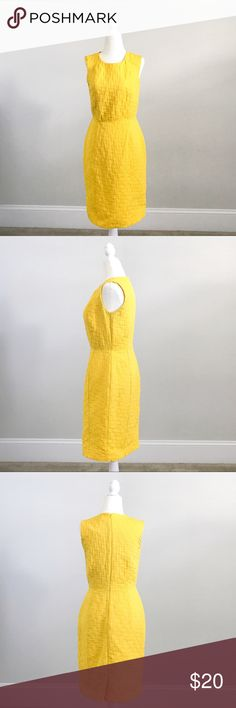 Banana Republic Sleeve-less Bright Yellow Dress This dress is in great pre-owned condition and comes from Banana Republic Outlet store, shell: 57% cotton/43% polyester, lining: 100% polyester. This dress is in a bright yellow color that's perfect for the summer, the straight cut is flattering for any body type. Minor black marks on right armpit area. Banana Republic Dresses