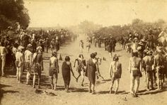 Feast day foot race, Taos Pueblo, New Mexico, ca. 1884-1892, by Dana B. Chase. Palace of the Governors Photo Archives 037205.