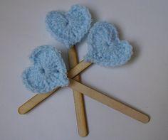 Heart Lollipop, Gift Idea for Newborn, Baby shower gift, Wooden Stick and Crocheted Heart. $10.00, via Etsy.