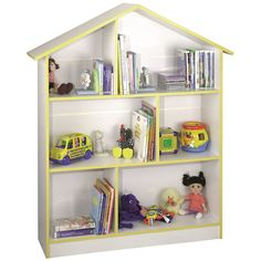 Kids Playhouse Bookcase in White w Yellow Trim Finish Dollhouse Bookcase, Dollhouse Toys, Dollhouse Furniture, Kids Doll House, Clutter Organization, White Office, Dollhouse Accessories, Furniture Manufacturers, Kids Furniture