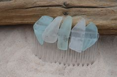 Aqua Sea Glass and Frosted White Sea Glass Hair Comb