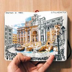 Imagen de art, book, and brown Travel Journal Scrapbook, Bullet Journal Travel, Bullet Journal Art, Art Journal Pages, Sketch Journal, Travel Sketchbook, Art Sketchbook, Travel Drawing, Urban Sketching