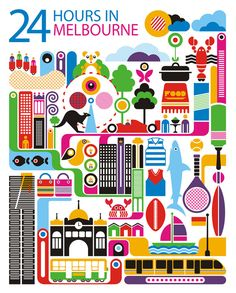 24 hours in Melbourne, Australia is part of a series designed by Fernando Volken  Togni for the Oryx Magazine, Qatar Airways