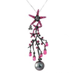 Oceania Tahitian South Sea pearl, white gold with black rhodium, black diamond and ruby pendant by Autore