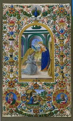 c. 1485 leaf from a Book of Hours: Annunciation, Nativity and Two Prophets, attributed to Master of Riccardiana 231 (Italian) - tempera and gold on parchment (6 1/4 x 7 1/16 in.) - Cleveland Museum of Art 1953.280