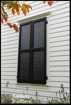 False Window With Louvered Shutters Slide Bolt And Faux