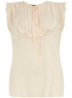 Ivory lace bib shirt