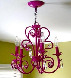 Here's the How to for this crafty Chandelier Makeover. Turn any ugly old hanging light fixture into a beauty to match or brighten your room. How about fuschia or aqua? Painted Chandelier, Pink Chandelier, Vintage Chandelier, Painting Chandeliers, Chandelier Ideas, Iron Chandeliers, Do It Yourself Furniture, Do It Yourself Home, Chandelier Makeover