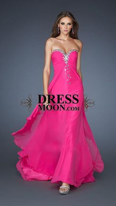 A-Line Sweetheart Floor-Length Chiffon Long Prom Dress - PROM