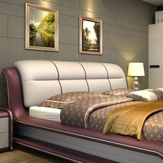 Buy Bed, Genuine Leather Bed ONLY With Storage And Other Bedroom Furniture Sets at Nofran Furnitures Furniture Sofa Set, Modern Bedroom Furniture, Pine Furniture, Furniture Online, Latest Bed, Modern Master Bedroom, Leather Bed, Bedroom Color Schemes, Bedroom Sets