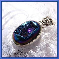 Deep Peacock Druzy  Sparkling Crystal Containing by treasure4ever, $34.00