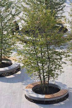 Área de drenagem para árvores associada a bancos. Soluções inteligentes no espaço urbano. www.casaecia.arq.br