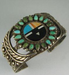 Old Zuni Inlay Sunface w/Satellite Turquoise Frame Bracelet
