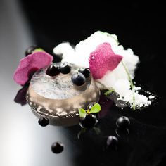 Blueberry Mojito: mint gelee, blueberry rum curd, lime granite, mint snow, blueberry paper