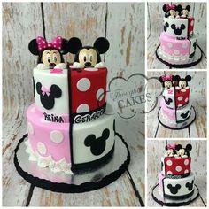 Mickey n Mini – birthdaycakeideas Mini Mickey, Bolo Mickey E Minnie, Theme Mickey, Mickey Cakes, Mickey Mouse Cake, Twin Birthday Themes, Minnie Mouse Birthday Cakes, Twin Birthday Parties, Elmo Birthday