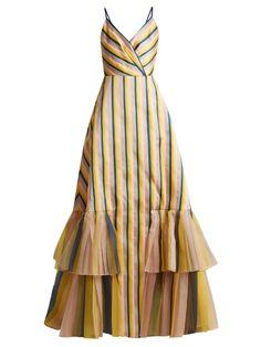 Carolina Herrera V Neck Striped Gown - Womens - Multi Plunging V Neck Dress, Casual Dresses, Fashion Dresses, Embellished Gown, Cocktail Gowns, Evening Cocktail, Floor Length Gown, Carolina Herrera, Cotton Dresses