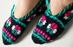 hand knitted wool slippers traditional black by LOVELYCHICKNITTING, $32.00